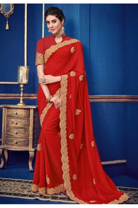 Red Colour Party Wear Saree.
