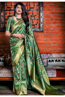 Green Colour Silk Saree.
