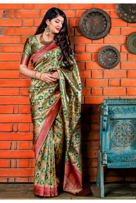 Golden Colour Printed Saree.