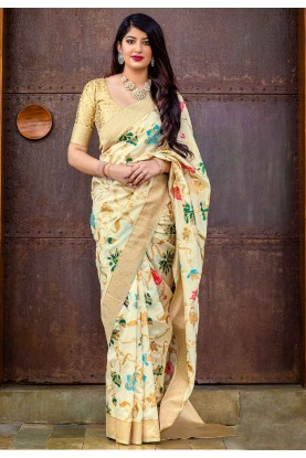 Cream Colour Indian Saree.