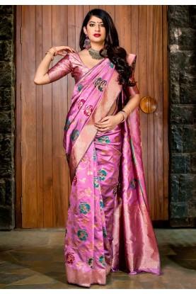 Magenta Colour Designer Sari.
