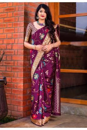 Purple Indian Designer Saree.