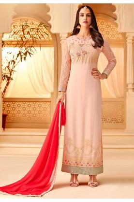 Peach Colour Designer Palazzo Suit.