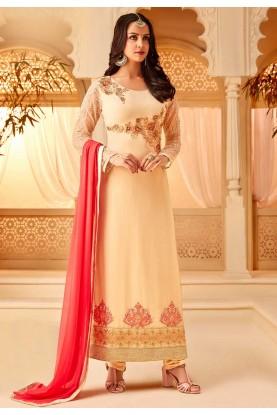 Cream Colour Indian Designer Salwar Suit.