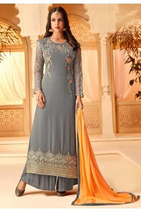 Grey Colour Georgette Salwar Kameez.