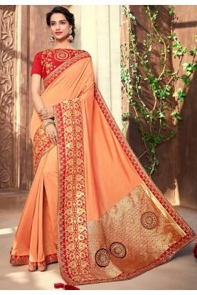 Peach,Golden Colour Party Wear Saree.