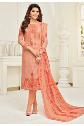 Peach Colour Cotton Salwar Kameez.