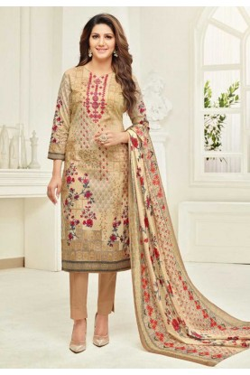 Beige Colour Bollywood Salwar Suit.