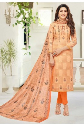 Orange Colour Cotton Salwar Suit.
