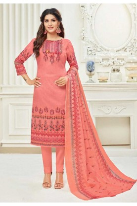 Peach,Pink Colour Salwar Kameez.