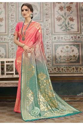 Peach,Green Colour Silk Saree.
