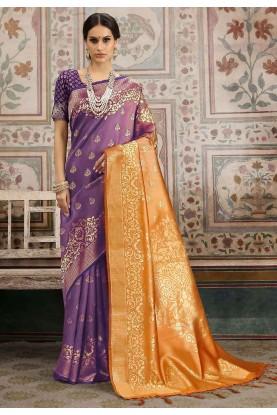 Purple,Orange Colour Designer Sari.