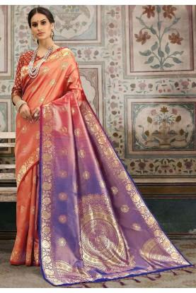 Purple,Peach Colour Saree.