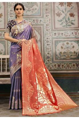 Purple,Red Colour Indian Sari.