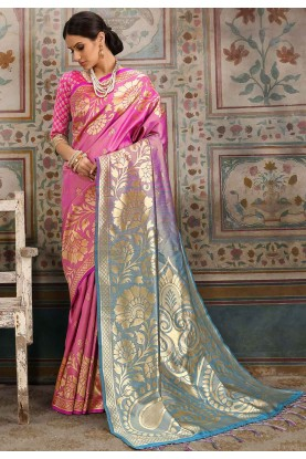 Pink Colour Designer Saree.