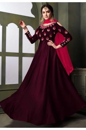Wine Colour Anarkali Salwar Suit.