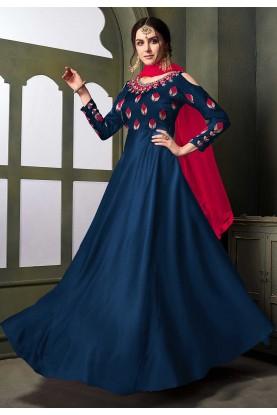 Blue Colour Silk Salwar Suit.