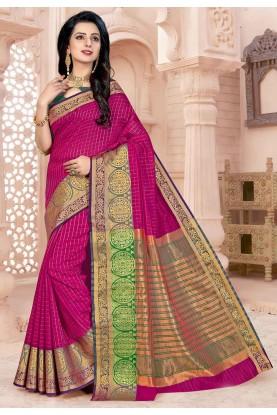 Magenta Colour Casual Saree.