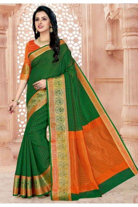 Green Colour Cotton Sari.