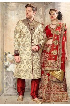 Beige Colour Designer Sherwani.