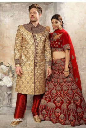 Golden,Brown Colour Men's Sherwani.