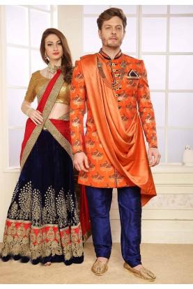 Orange Colour Party Wear Indowestern.