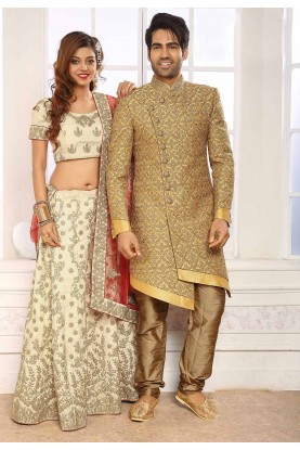 Cream,Golden Colour Designer Indowestern.