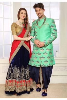 Green Colour Men's Indowestern.