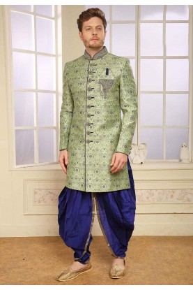 Green Colour Engagement Indowestern.