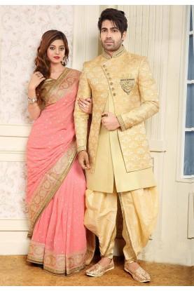 Golden,Cream Colour Designer Indowestern.