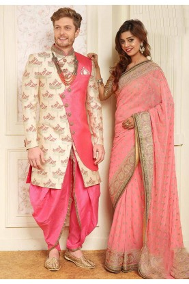 Cream,Pink Colour Men's Indowestern.