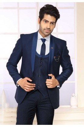 Blue Colour Indian Designer Men's Suit.