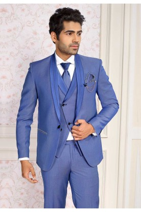 Blue Colour Casual Men's Suit.