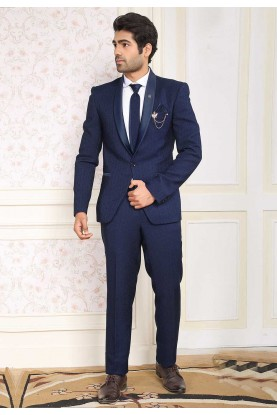 Elegant Navy Blue Colour Imported Fabric Designer Suit.