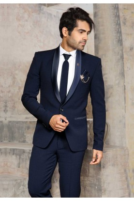Dashing Navy Blue Colour Wedding Suit.
