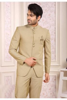 Elegant Beige Colour Jodhpuri Suit.