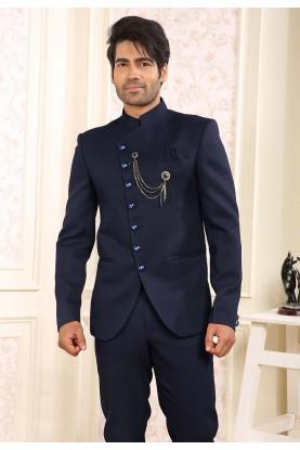 Navy Blue Colour Designer Jodhpuri Suit.