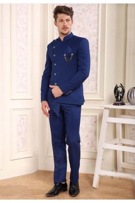 Royal Blue Colour Engagement Jodhpuri Suit.