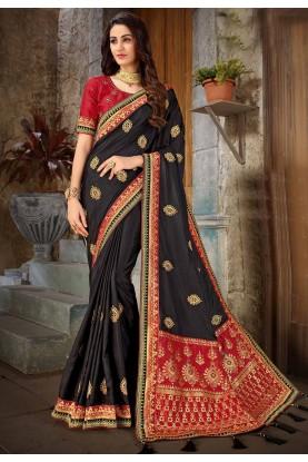 Black Colour Silk Saree.