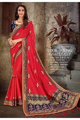 Red Colour Indian Sari.
