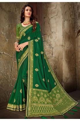 Green Colour Indian Designer Saree.