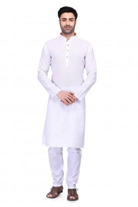 White Plain Readymade Kurta Pajama.