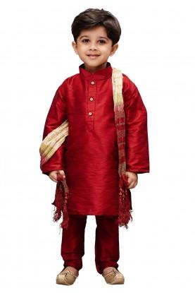 Maroon Colour Cotton Silk Kurta Pajama.