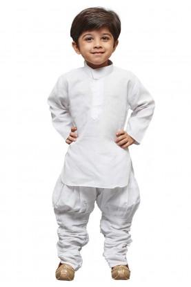 White Colour Linen Kurta Pajama.