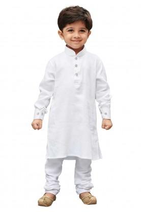 White Colour Cotton Fabric Boy's Kurta Pajama.