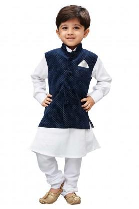 White,Blue Colour Readymade Kurta Pajama.