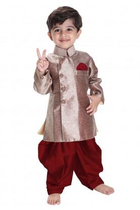 Golden Colour Boy's Readymade Kurta Pajama.