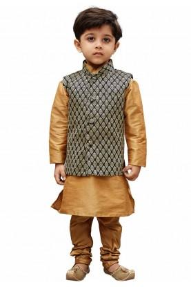 Golden,Black Designer Kids Kurta Pajama.