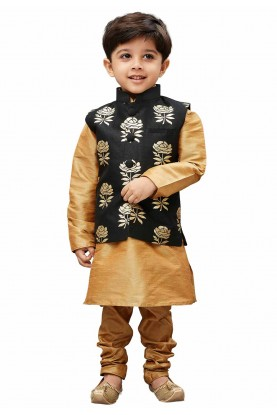 Golden,Black Colour Boy's Kurta pajama.