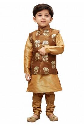 Golden,Brown Colour Designer Kurta Jacket.